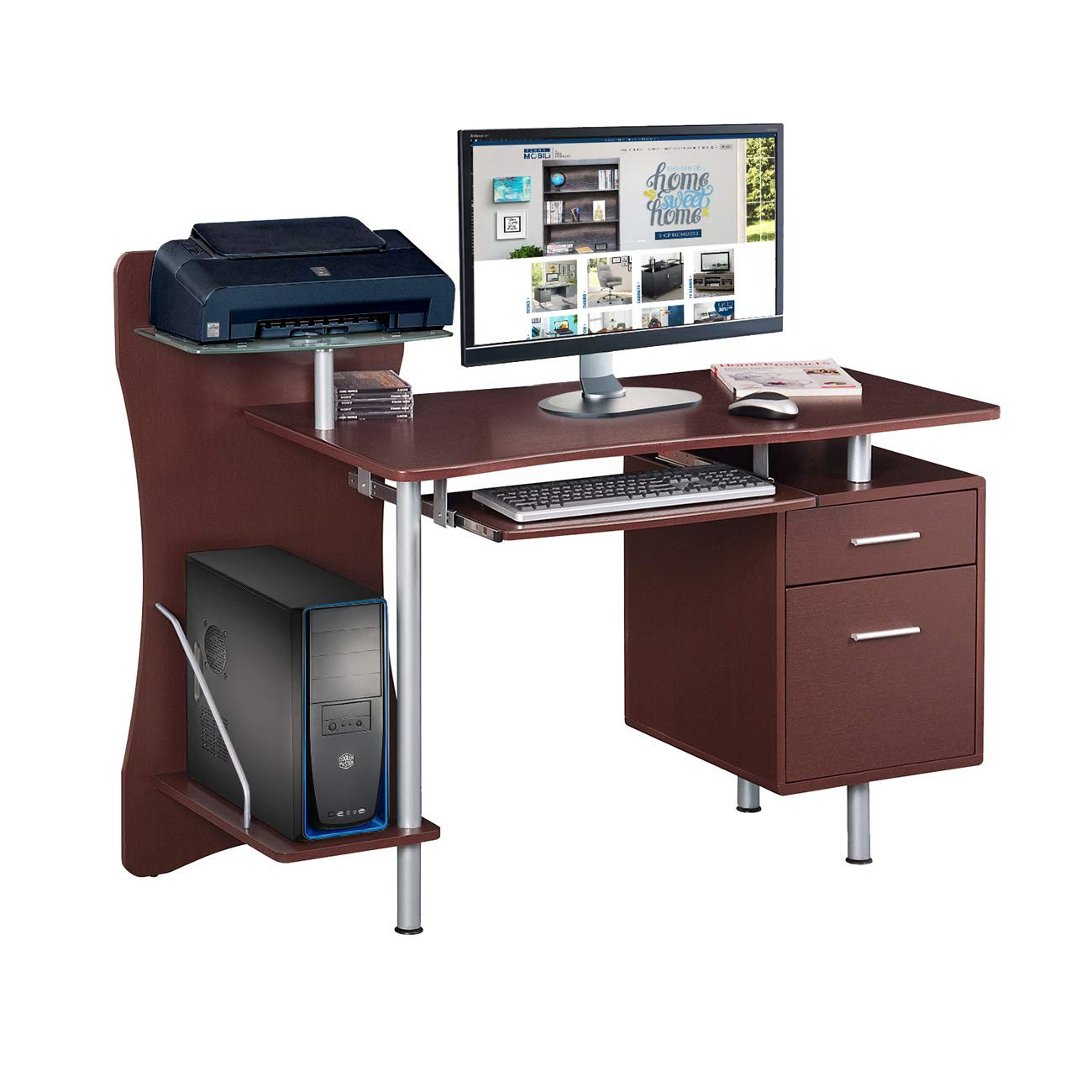 Techni Mobili RTA-325-CH36 Stylish Computer Desk with Storage, Chocolate,  39 5