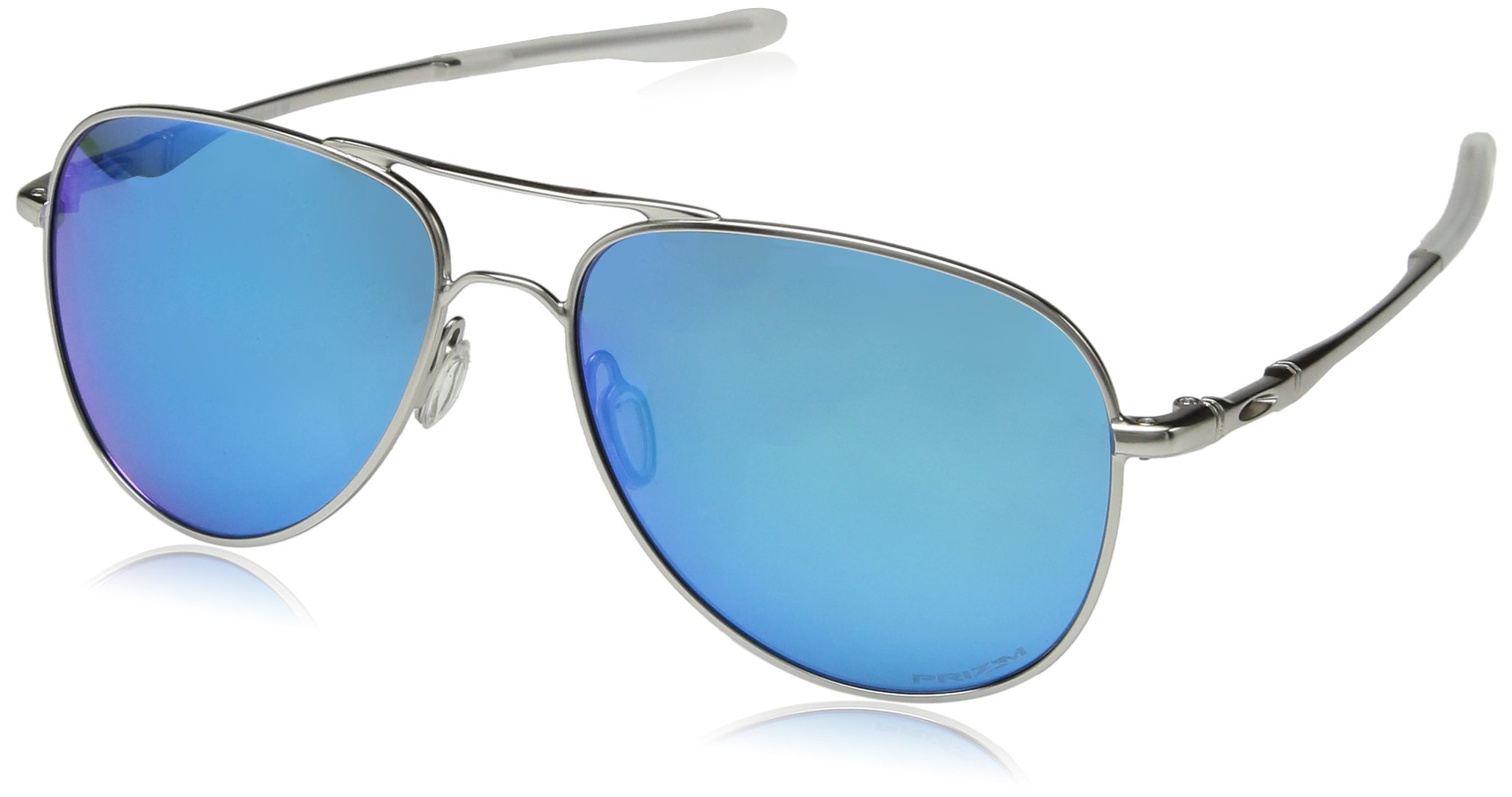 Oakley Elmont Polarized Round Sunglasses, Satin Chrome, 58.0 mm