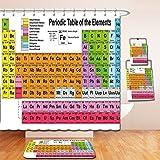 Nalahome Bath Suit: Showercurtain Bathrug Bathtowel Handtowel Periodic Table Science Freak Chemistry Lovers Colorful Element Table Fun Learning Image Multicolor