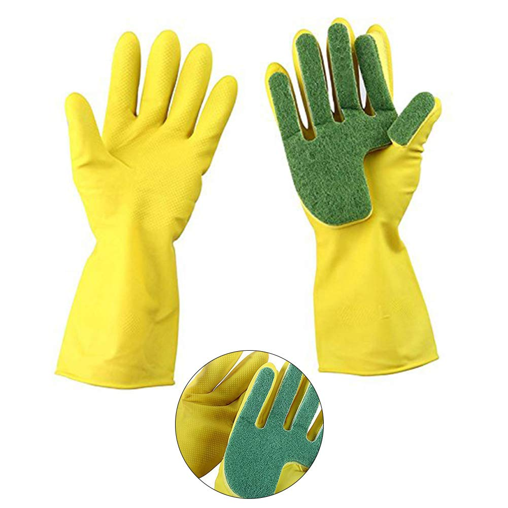 Household Gloves Kitchen Garden Rubber Long Gloves with Scouring Cloth Sponge Cleaning Dish Washing Protect Hand Laundry Cleaning Gloves