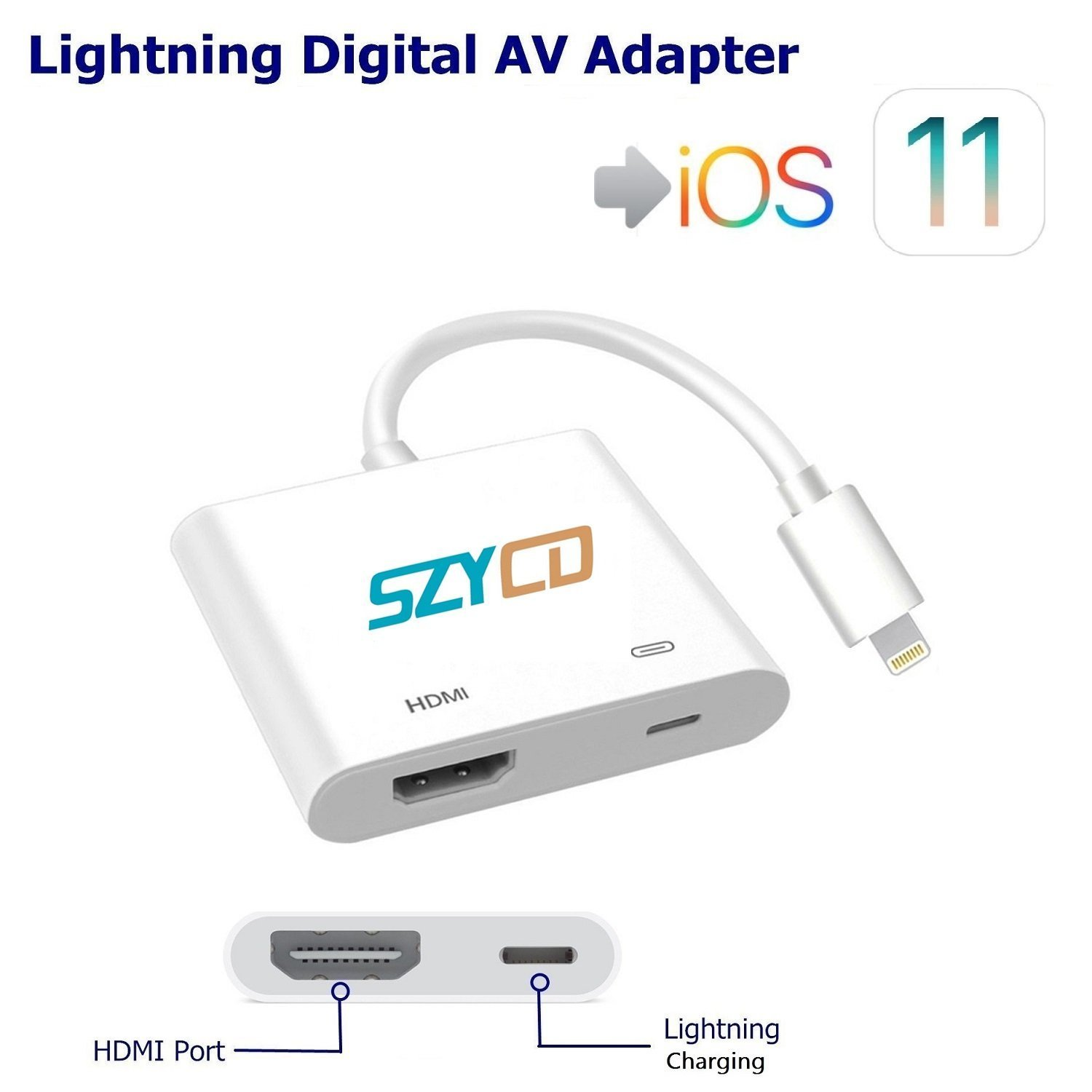 Lightning Digital AV Adapter, SZYCD iPhone iPad to HDMI Adapter with Lightning Charging Port for HD TV Monitor Projector 1080P Support iOS 9/10/11 by SZYCD