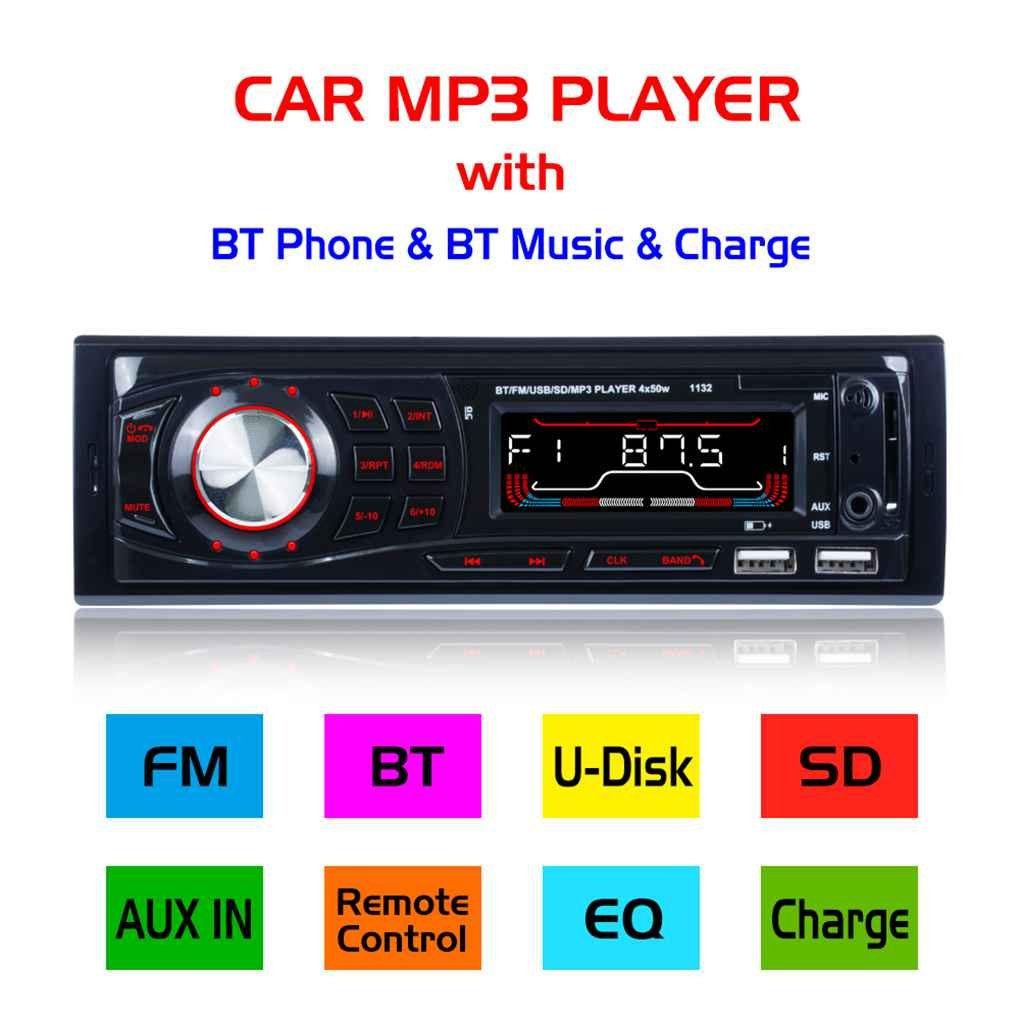 egalbest車Bluetooth mp3プレーヤーリモートコントロールin-dash Aux入力レシーバーSDカードUSB FMラジオステレオオーディオ B07DCHW69D