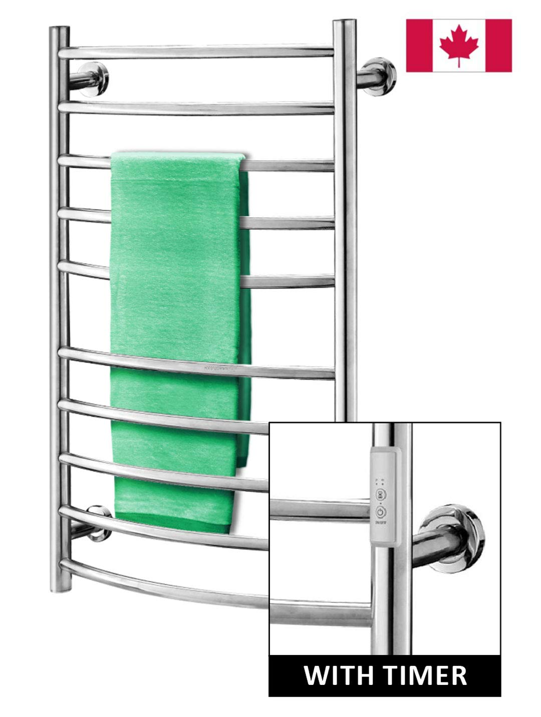 Towel Warmer | Built-in Timer with Led Indicators | 3 Timer Modes: ON/Off, 2 H, 4 H | Both Hard-Wired & Plug-in Options Included| Wall Mounted | 10 Curved Bars | High Polish Chrome Stainless Steel by Odass