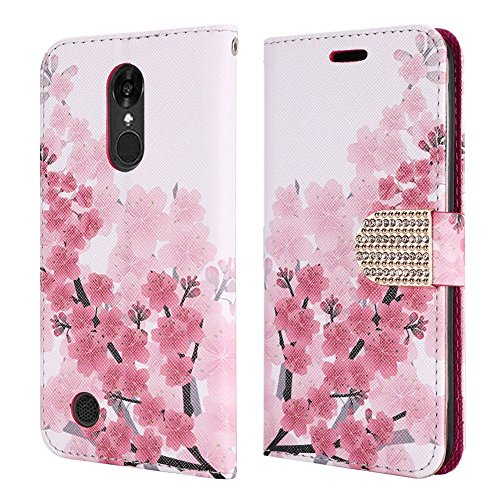 (LG Aristo Case, Lg Fortune Case, LG Phoenix 3 Case, Lg LV3 case, Luckiefind Premium PU Leather Flip Wallet Credit Card Cover Case, Stylus Pen, Screen Protector Accessories (Wallet Sakura))