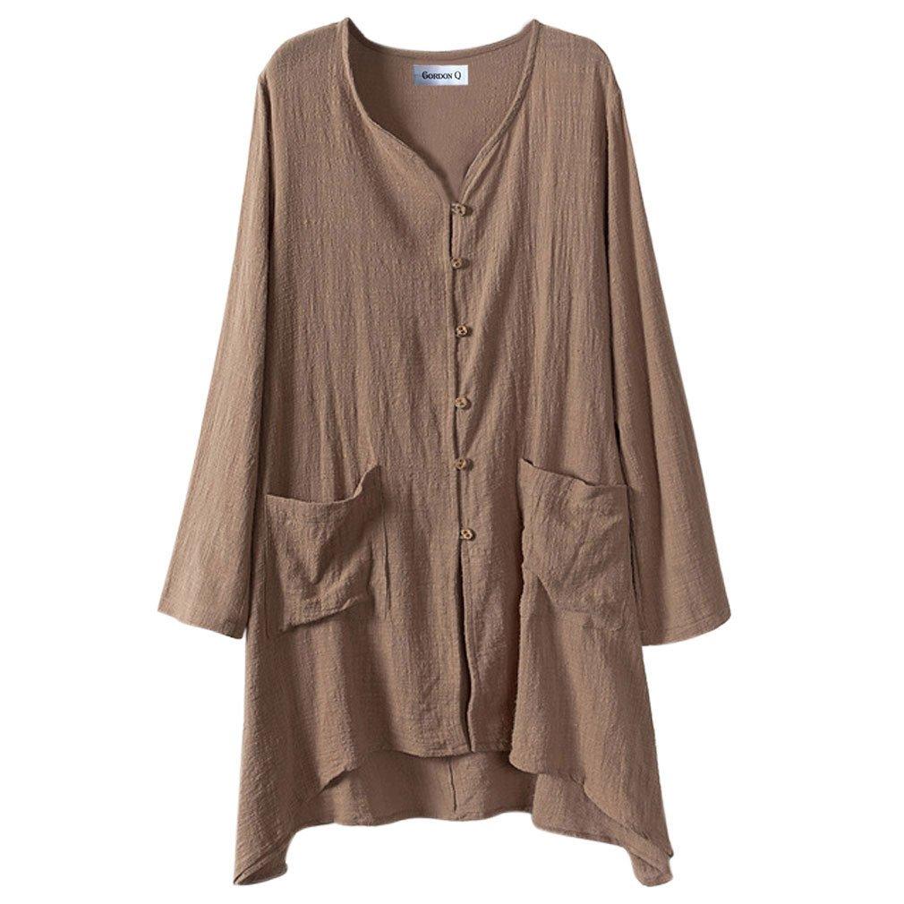 Gordon Q Women's Linen Comfort Buttons up Plus Size Long Shirts Coffee 2X