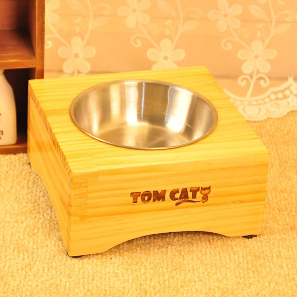 Medium CXQ Dog Bowl Pet Bowl Dog Food Bowl Small Medium and Large Dog Stainless Steel Anti-Skid Wooden Frame Cat Bowl Pet Supplies (Size   M)