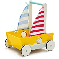 Yellow Blue Aircraft Wooden Baby Push Walker - 2-in-1 Toddler Push & Pull Toys Learning Walker Stroller Walker with…