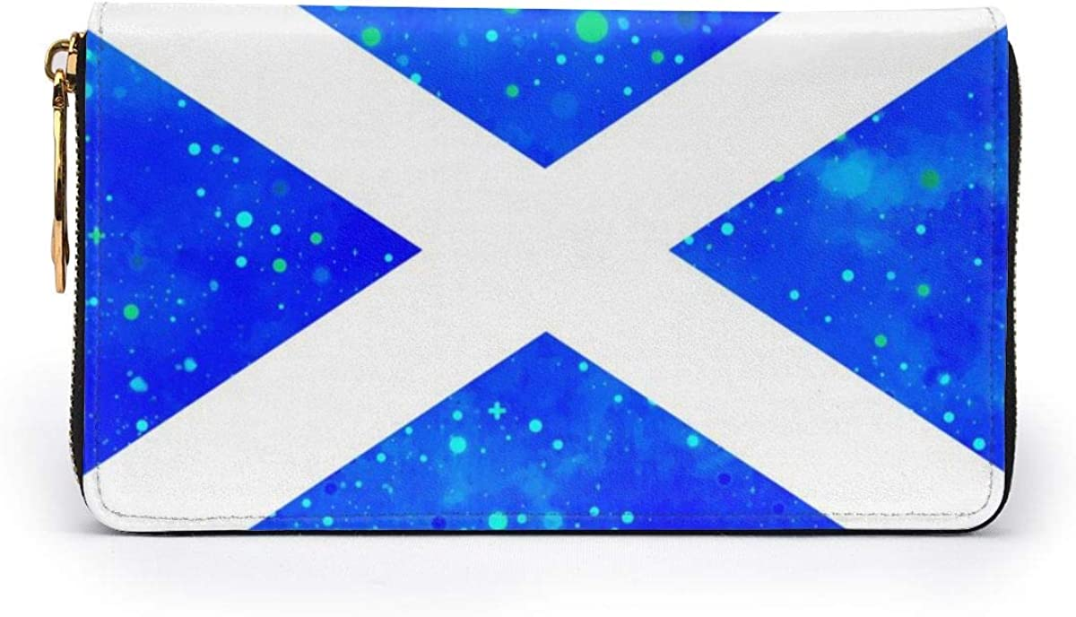 Scotland Flag Starry Flag Wallets For Men Women Long Leather Checkbook Card Holder Purse Zipper Buckle Elegant Clutch Ladies Coin Purse