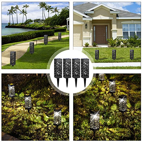 Amazon com beau jardin solar lights outdoor garden powered path lighting solar glow led pathway lights front gate bright solar landscape lights black