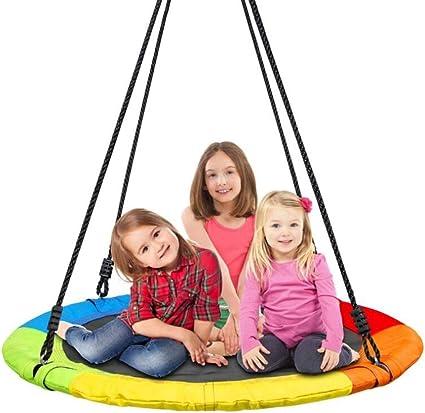 Columpio YXX Nido Jardin Exterior Hamacas platillo Grande para 3 niños y Adultos, Silla de Hamaca Colgante al Aire Libre con Plataforma niños, diámetro 100 cm / 40 pul: Amazon.es: Hogar