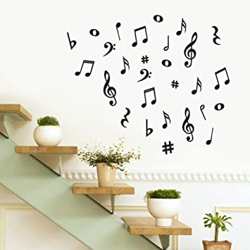 Musical Notes Music Guitar Vinyl Wall Stickers Living Room Decals Nursery Home Decor Removable Wallpaper Art Murals Wall Decor Amazon Co Uk Diy Tools