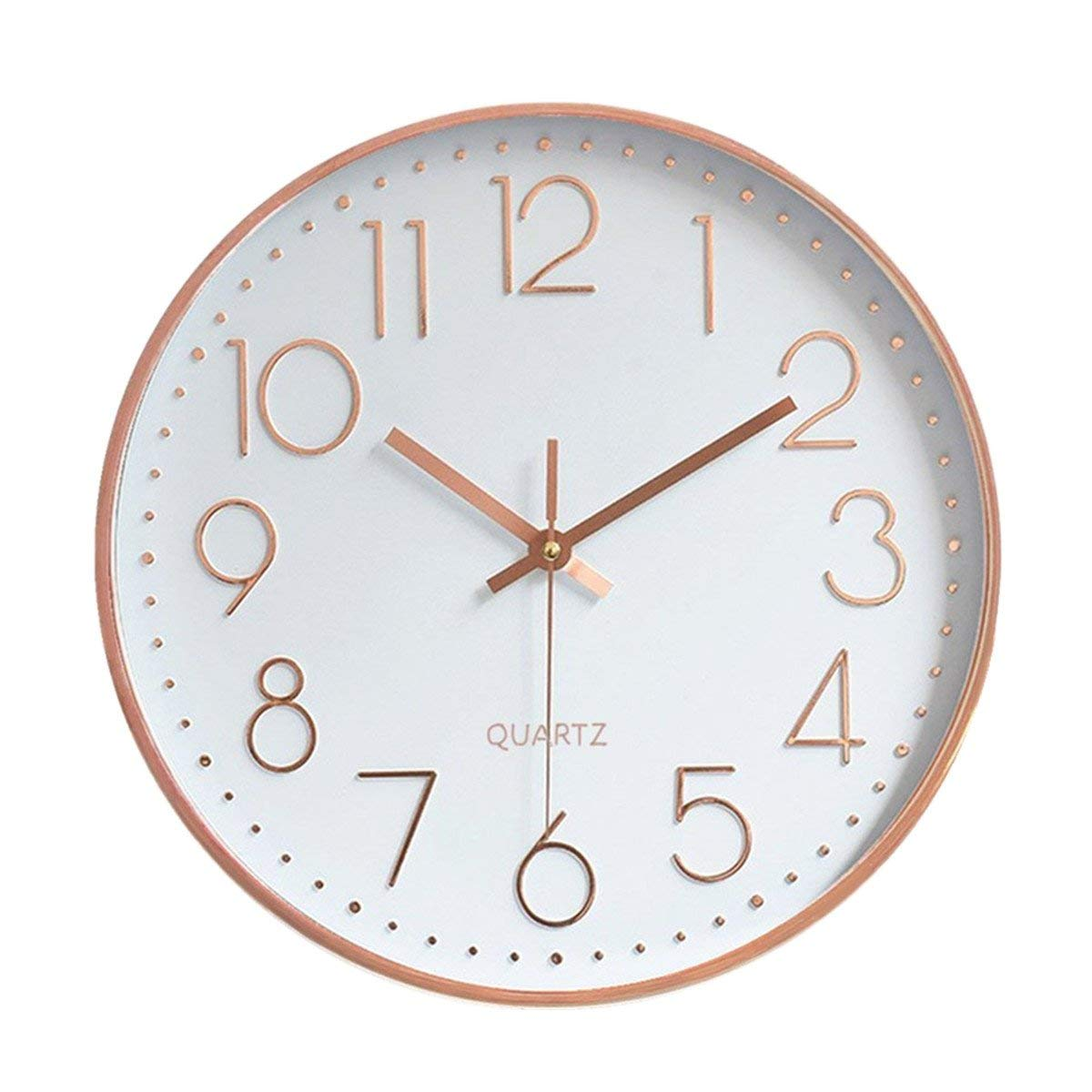 Foxtop Modern Wall Clock, Silent Non-Ticking Quartz Decorative Battery Operated Wall Clock for Living Room Home Office School w Rose Gold Plastic Frame Glass Cover 12 inch, Arabic Numeral