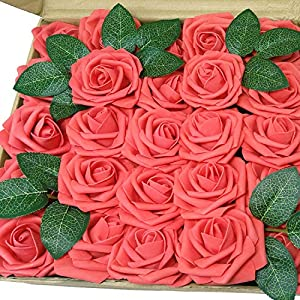 J-Rijzen Jing-Rise Artificial Roses 50pcs Real Touch Coral Flowers with Stem for Baby Shower Floral Bridal Shower Centerpieces DIY Wedding Bouquet Home Decorations (Coral) 110
