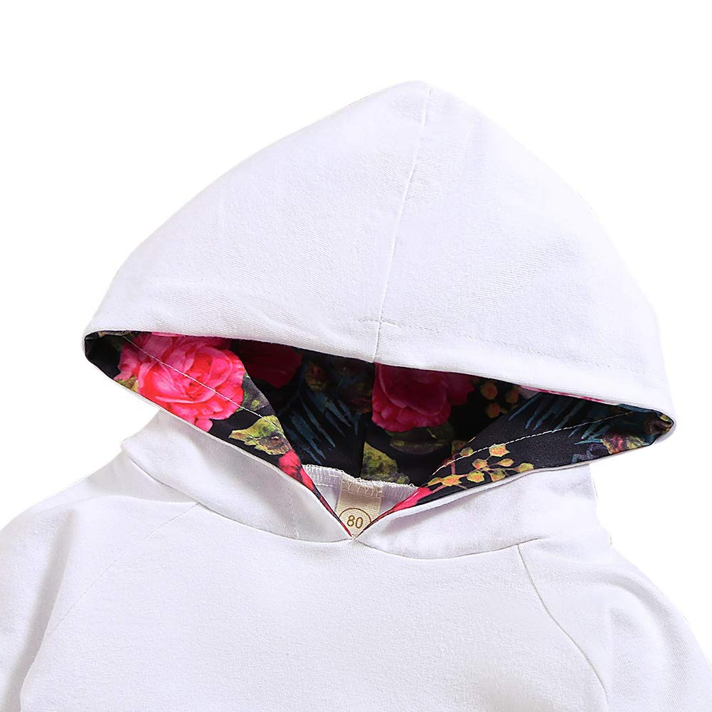 Hongyuangl 3 Pieces Baby Hoodie Tracksuit Hooded Sweatshirt with Pocket and Floral Jogger Pants and Hairband