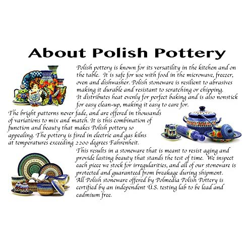 Polish Pottery Rectangular Baker with Handles 10-inch Flowering Peacock
