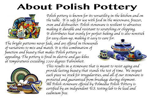 Polish Pottery 9¼-inch Dish with Cover (Country Meadow Theme) + Certificate of Authenticity by Polmedia Polish Pottery (Image #5)