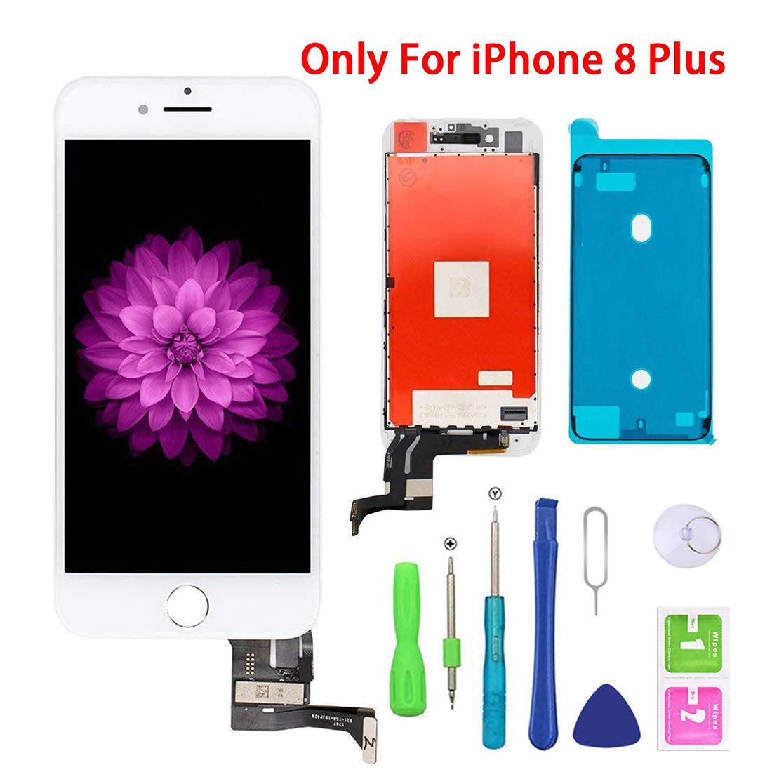 Screen Replacement for iPhone 8 Plus White for LCD Display & Touch Screen Digitizer Frame Assembly Set with 3D Touch Free Repair Tool(5.5''