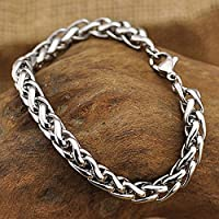 wanmanee Mens Punk Silver Tone Stainless Steel Chain Link Bracelet Wristband Cuff Bangle