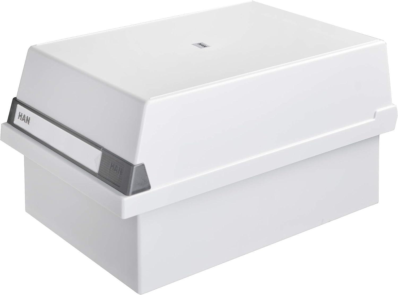 HAN 955-11 - Caja para tarjetas de índice (capacidad para aprox. 1300 tarjetas, tamaño A5, 235 x 190 x 360 mm), color gris: Amazon.es: Oficina y papelería