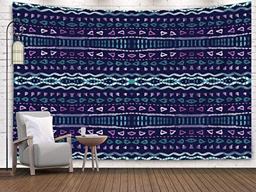 Shorping Art Tapestries, 80x60Inches Hanging Wall Tapestry for Décor Living Room Dorm dye Indigo Shibori Print Hand Drawn Boho Pattern Ink Textured Japanese Background Modern Batik Wallpaper Tile