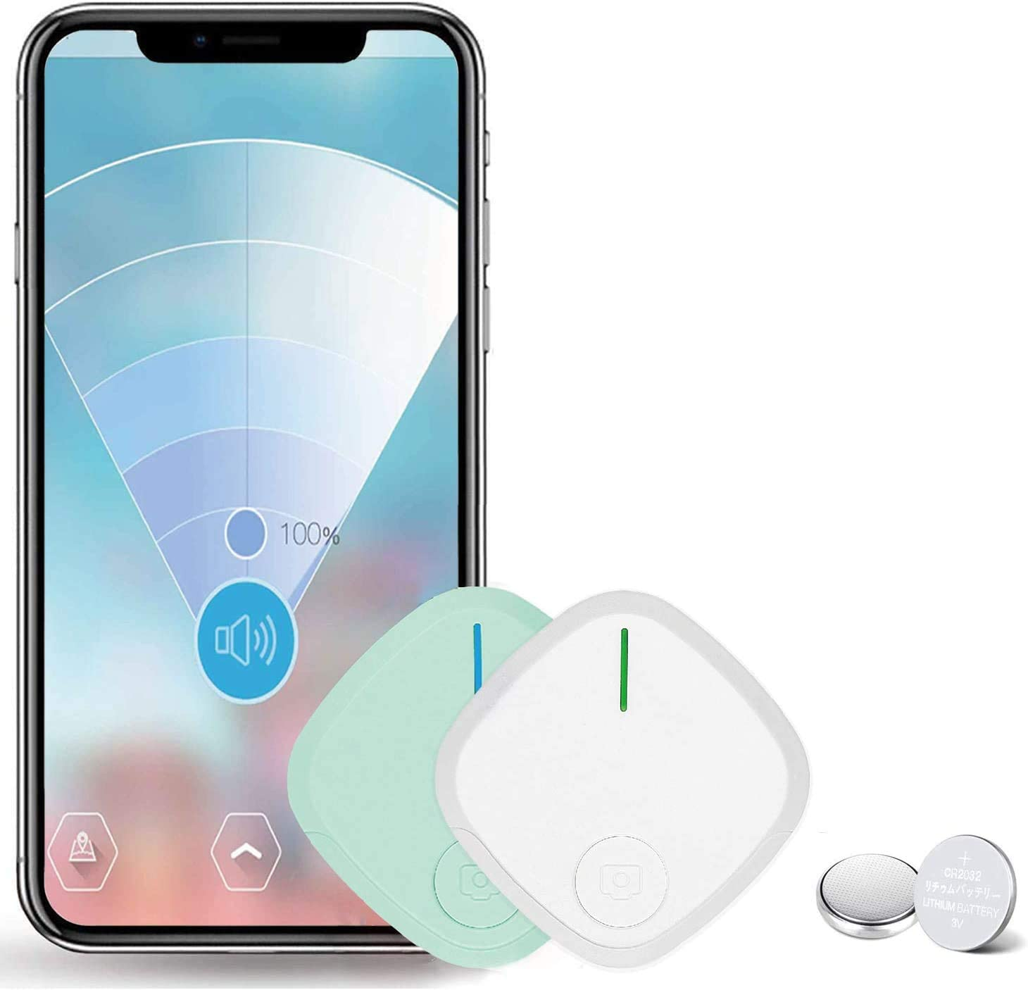 Key Finder, Hockvill Item Locator Wireless Wallet Tracker, Smart Tracker Bluetooth Tracker for Dogs, Kids, Cats, Luggage, Wallet, with app for Phone, Replaceable Battery Tracking Device - 2 Packs