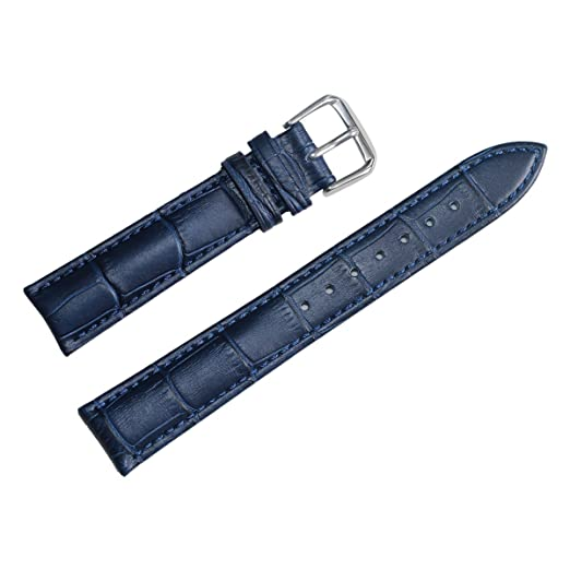 d85400522 Image Unavailable. Image not available for. Color: 22mm Blue Leather Watch  Band Straps Genuine Calfskin Alligator Grain Matt Padded