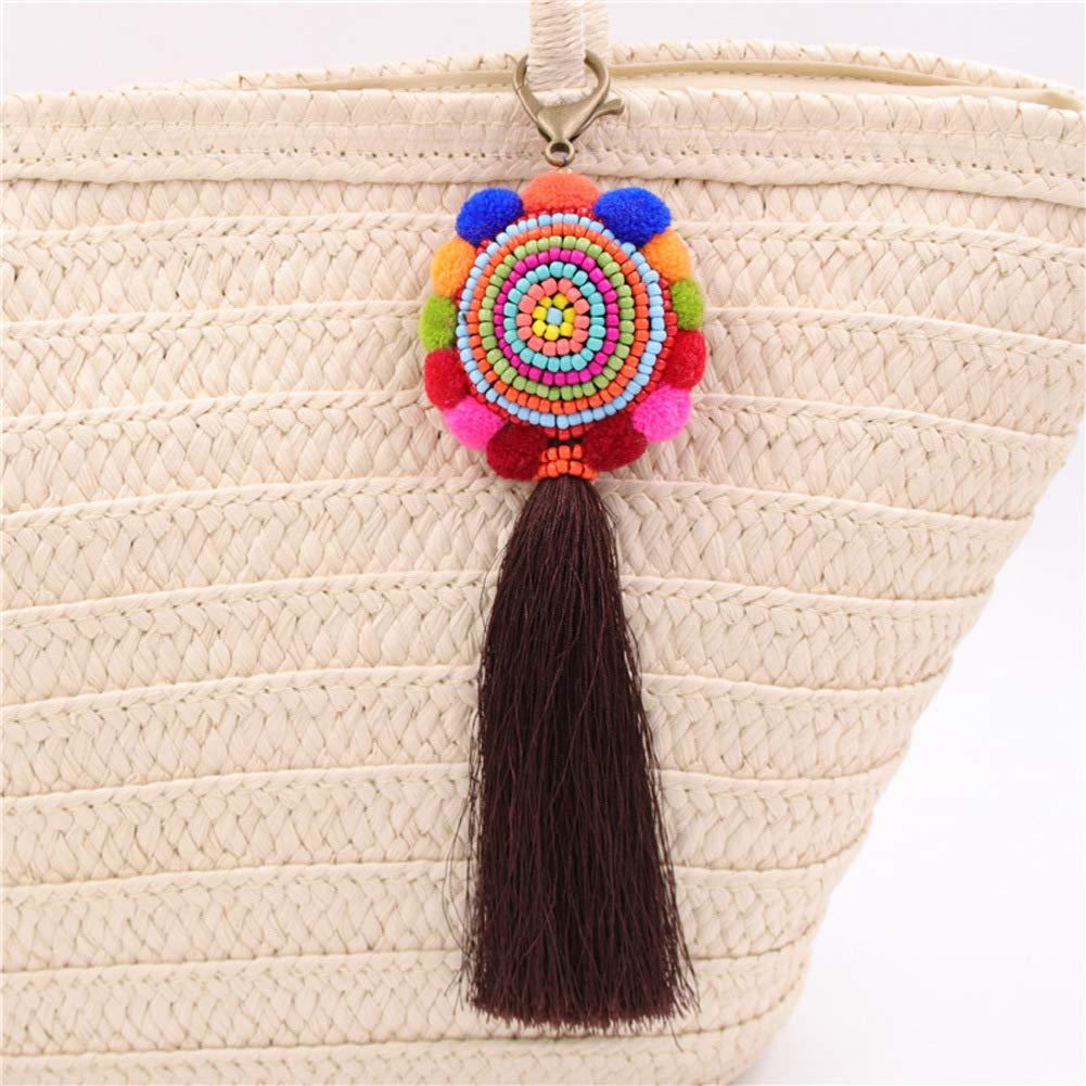DZH Enjoy Gran ronda Pom Pom con cuentas borla larga bolsa colgante encanto llavero para mujeres bolso de paja bolso bolso decoraci/ón
