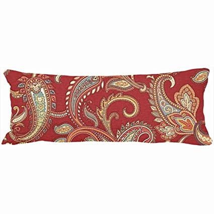 Decorative Body Pillows Red Gold Paisley Print Unique Design Home Decor  Pillow Case Cover 20