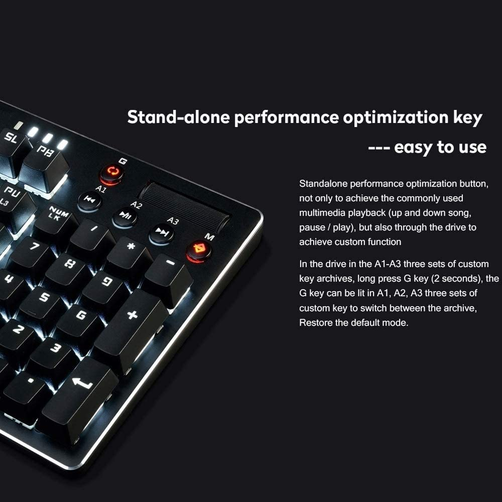 G-rf Wired toetsenbord, AK35I Multimedia Knop Gaming RGB Backlight Alloy Machinery Keyboard (Blauw Axis) (Color : Color1) Color2