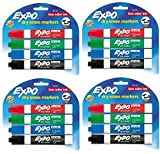 expo pack - Expo 80174 Low Odor Chisel Point Dry Erase Marker Pack, Designed for Whiteboards, Glass and Most Non-Porous Surfaces, 4 Assorted Color Markers, Pack of 4 Blisters