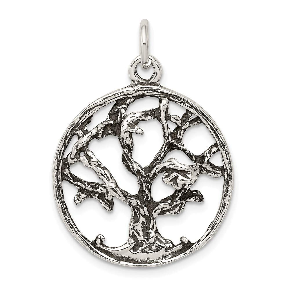 approximately 26 x 23 mm Mireval Sterling Silver Antiqued Tree Charm