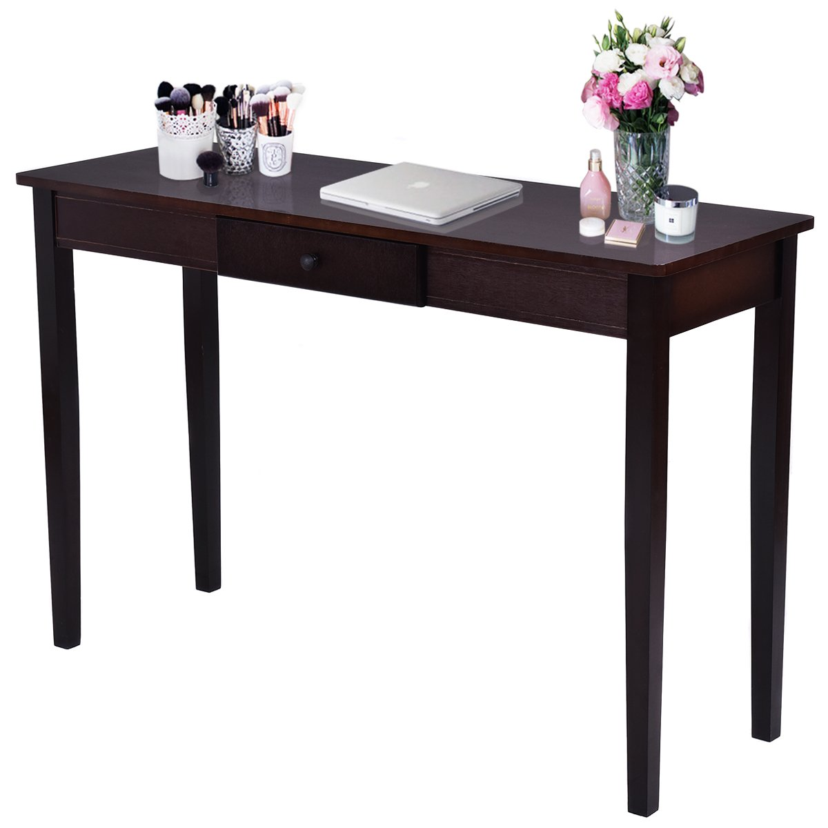 Giantex Wood Console Table For Entryway Hallway Modern Hall Side Tall Table with One Drawer Living Room Furniture, Dark Walnut