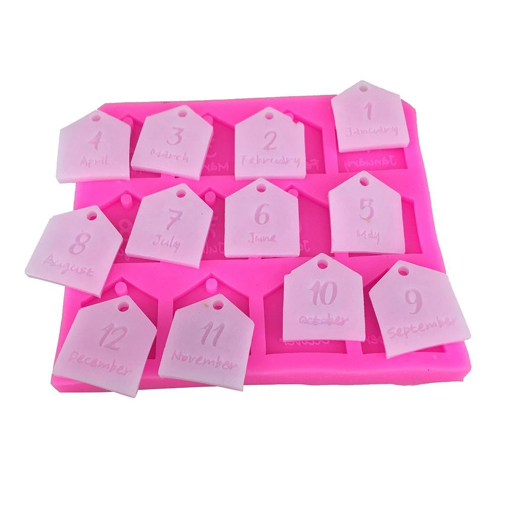Starter Diy coche colgante de yeso moldes 12 meses de decoración de pasteles herramientas de aromaterapia cera tableta de silicona molde: Amazon.es: Salud y ...