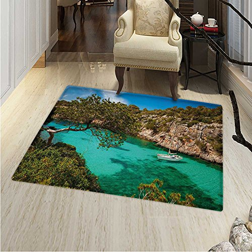 Nature Area Rug Carpet Small Yacht Floating in Sea Majorca Spain Rocky Hills Forest Trees Scenic View Living Dinning Room Bedroom Rugs 3'x4' Green Aqua Blue by Anhounine