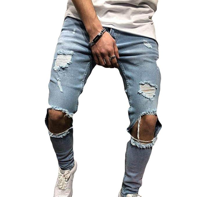 82c4e20ad6 junkai Jeans Denim Skinny Fit Elasticizzati da Uomo Jeans Skinny Strappati  Sfilacciati Stretch Sfilacciati Taglie S-3XL