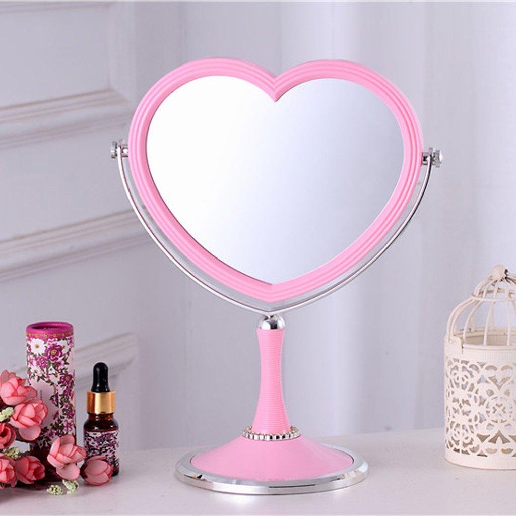 Cosmetic mirror Cosmetic Mirror European Mirror Double Mirror Heart-shaped Princess Mirror Cosmetic mirror (Color : Pink)