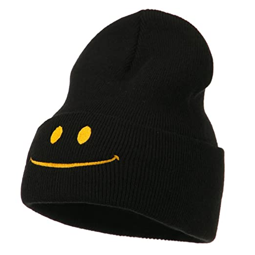 d6aa61b44500f7 Amazon.com: Happy Smiley Face Embroidered Knit Beanie - Black OSFM ...