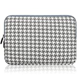 Arvok 17 17.3 Inch Laptop Sleeve, Canvas Fabric Notebook/Ultrabook Carrying Pouch Bag Case Cover Briefcase for Macbook/Acer/Asus/Dell/Lenovo/HP/Samsung/Tablet (Houndstooth Grey)