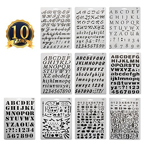 SUBANG 10 Pcs Bullet Journal Stencil Alphabet Stencil Letter Stencil Templates for Painting and (Alphabet Wall Stencils)