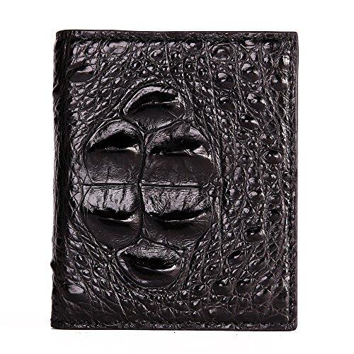 La Billetera Piel Negro Fahsion De Hombres Cabeza De De Pliegue Negocios Doble Hombres Genuina De Cocodrilo Piel Cartera AwqHF1Z