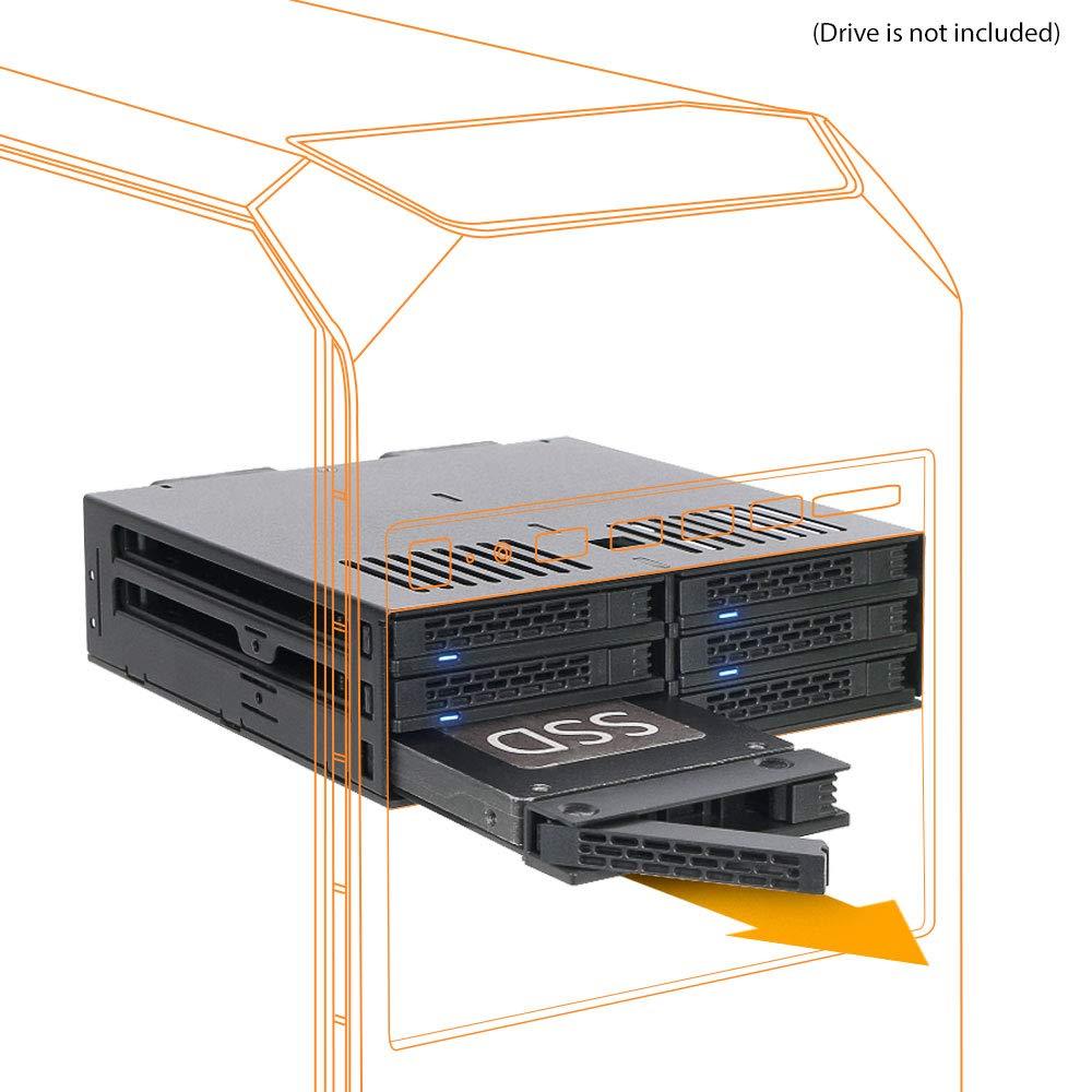 6 x 2.5 SATA /SAS HDD/SSD en 1 x 5.25 Drive Bay MB326SP-B