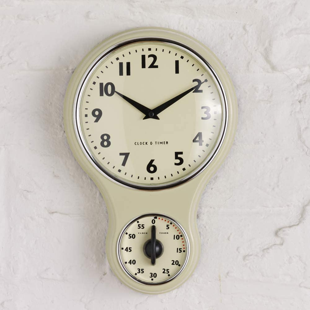 ProCook Cream Retro Kitchen Clock & Timer