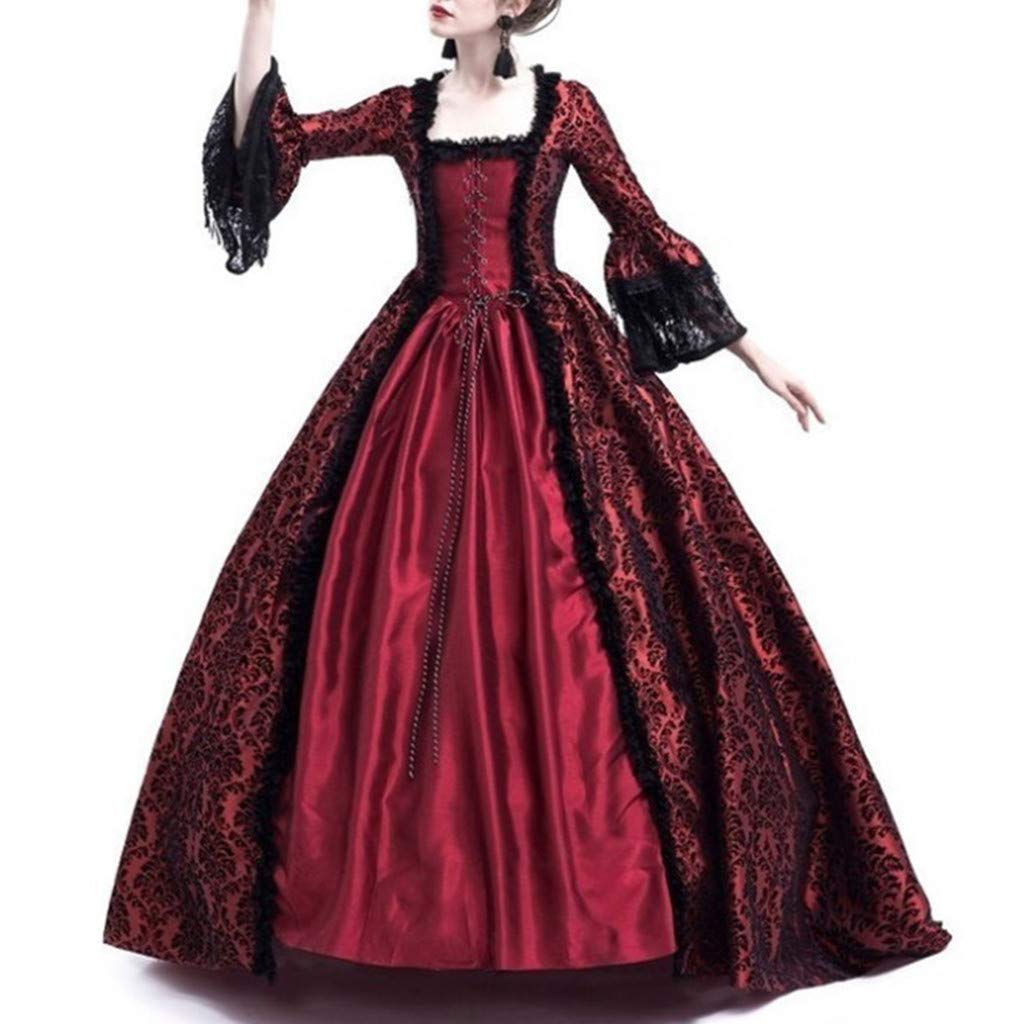 Women Halloween Medieval Victorian Cosplay Costume,Renaissance Gothic Princess Party Dresses Wine by sweetnice Women Dresses