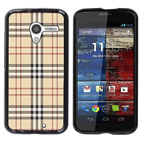 LASTONE PHONE CASE / Slim Protector Hard Shell Cover Case for Motorola Moto X 1 1st GEN I XT1058 XT1053 XT1052 XT1056 XT1060 XT1055 / Fashion Brand Fabric Pattern Style Brown (Moto X 1st Gen Phone Covers)