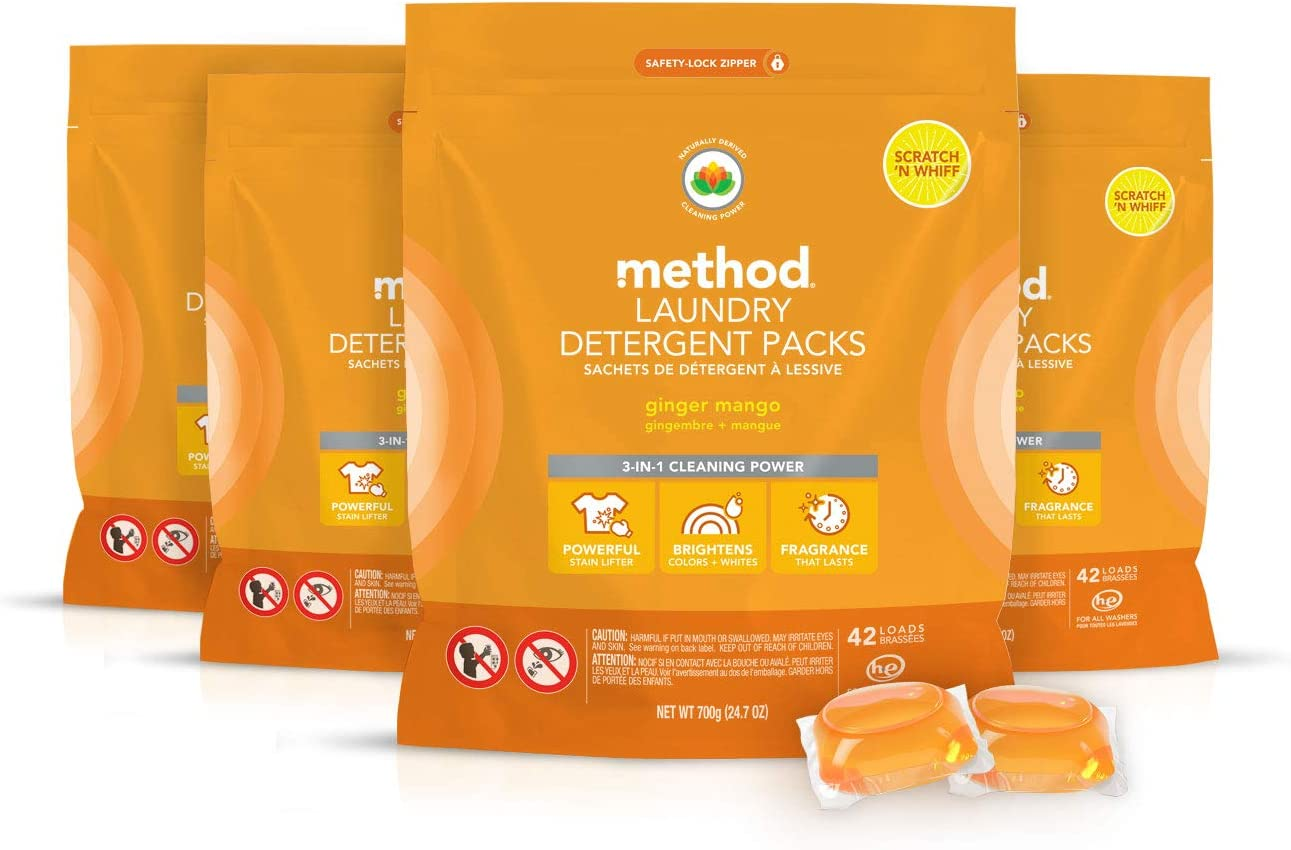 Method Laundry Detergent Packs, Ginger Mango, 24.7 Ounce (Pack of 4)