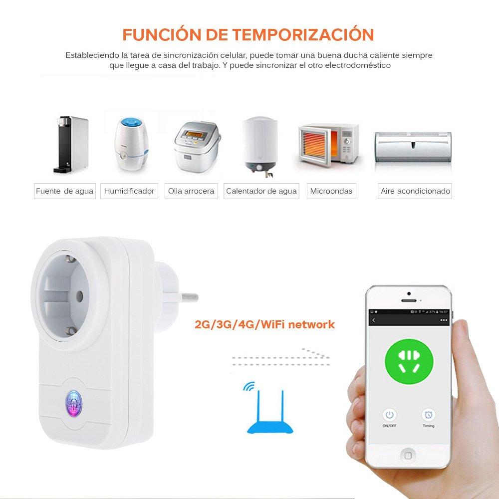 Pavlit Enchufe Inteligente, Control Remoto vía 2.4Ghz WIFI, con Interruptor, Luz Indicadora, Función de Temporizador. Controle y Revise sus Enchufes en ...