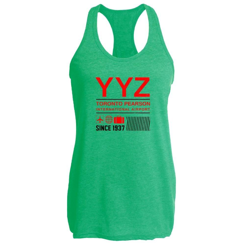 Pop Threads YYZ Toronto Airport Code Since 1937 Travel Heather Kelly XL Womens Tank Top