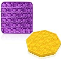 Lohoee 2pcs Push Pop Sensory Bubble Toys Stress Reliever Autism Fidget Toy Push Pop Silicone Stress Reliever Toy for…