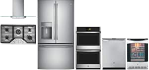 "GE Profile 6 Piece Kitchen Applianc Package with 36"" French Door Refrigerator, 36"" Gas Cooktop, 36"" Wall Mount Hood, 30"" Wall Oven, 24"" Built in Dishwasher and 24"" Beverage Center in Stainless Steel"