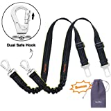 iBuddy Dog Seat Belts for cars of Small/Medium/Large Dogs,Adjustable Pet Seat Belt for Dog Harness with Dual Safe Bolt Hook and Elastic Durable Nylon Dog Safety Belt for Car